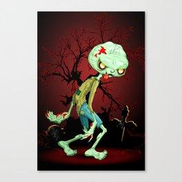 Zombie Creepy Monster Cartoon on Cemetery Canvas Print