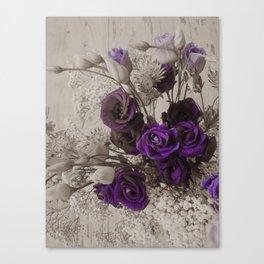 Vintage purple sepia floral Canvas Print