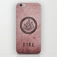 airbender iPhone & iPod Skins featuring Avatar Last Airbender Elements - Fire by bdubzgear