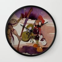 ninja turtle Wall Clocks featuring ninja turtle and mario by joseph Leonard
