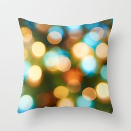 Abstract holiday Christmas background with blue and yellow Throw Pillow