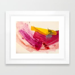 Pink Lemonade: a minimal, colorful abstract mixed media with bold strokes of pinks, and yellow Framed Art Print