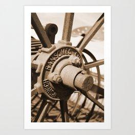 Wheel Hub Sepia Art Print