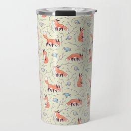 Fox and Bird Pattern Travel Mug