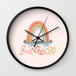 Skating on Good Vibes Only Wall Clock