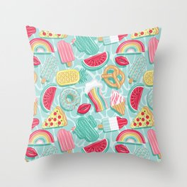 Epic pool floats top view // aqua background Throw Pillow