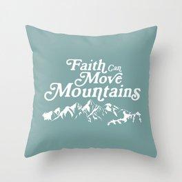 Retro Faith can Move Mountains Throw Pillow