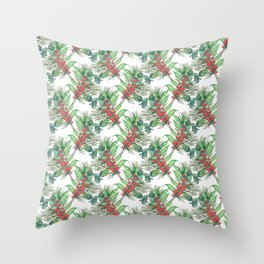Cute Watercolor Winter Green Foliage red berries Throw Pillow