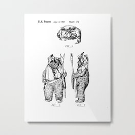 Toy Figure Vintage Patent Hand Drawing Metal Print