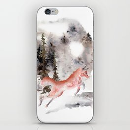 Fox Gamboling In The Mountain Mist iPhone Skin