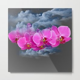 FUCHSIA ORCHIDS CLOUDY WEATHER GREY ART Metal Print