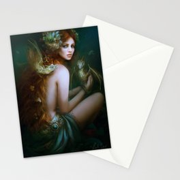 Mint & Roses - Girl with dragons Stationery Cards