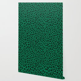 LEOPARD PRINT in GREEN | Collection : Leopard spots – Punk Rock Animal Print Wallpaper