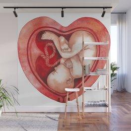 Watercolor fetus inside the womb Wall Mural
