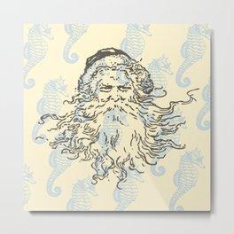 Vintage Santa w/ Seahorses Metal Print