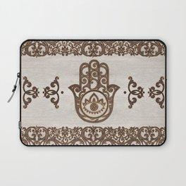 Hamsa Hand - Hand of Fatima  wooden texture Laptop Sleeve