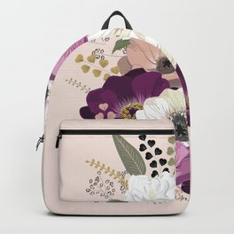 Anemones & Gardenia floral bouquet Backpack