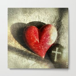 Red Heart and Cross of Stone Metal Print