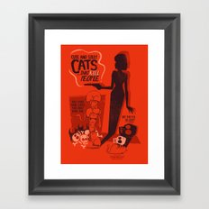 Cat Movie - orange Framed Art Print