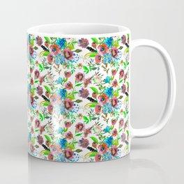 Bohemian modern pink blue green watercolor floral Coffee Mug