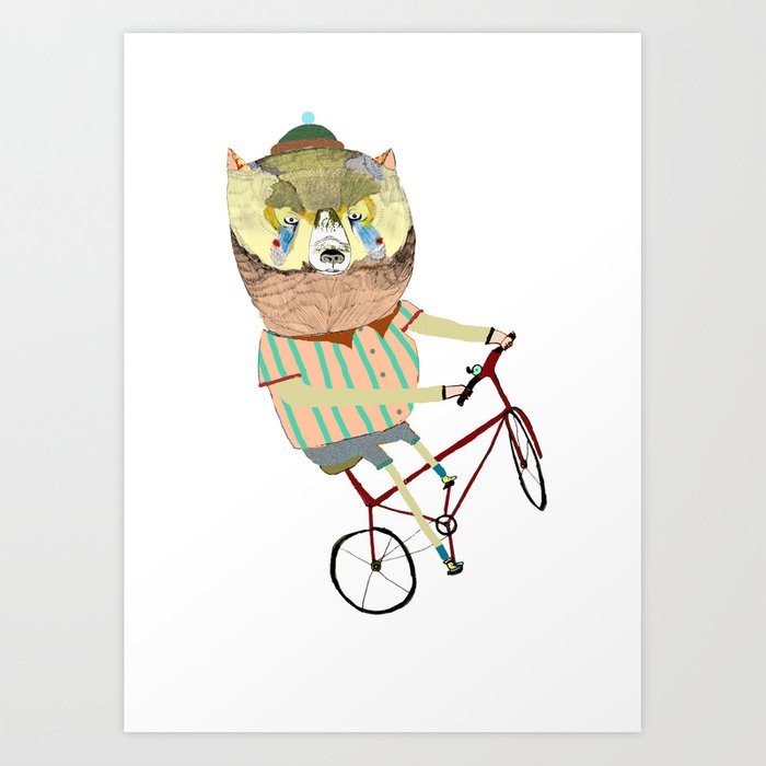 Biking, bike, bikes, biker, bear,  Art Print