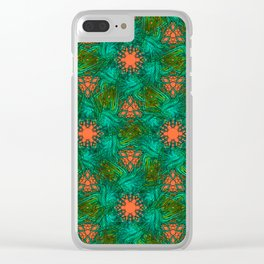 greenery and orange pattern Clear iPhone Case