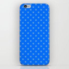 White on Brandeis Blue Snowflakes iPhone Skin