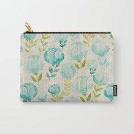 Vintage Aqua Blossoms Carry-All Pouch