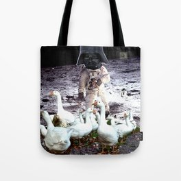 Goats Peter guards goose on the moon... Tote Bag