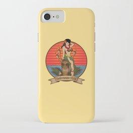 Beautiful Hula Girl Pau Hana Time with Tiki iPhone Case