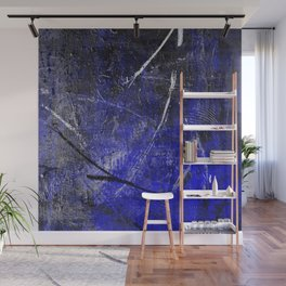 In The Dead Of Night - Textured Abstract In Blue, Black and White Wall Mural