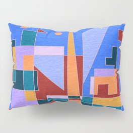 Modern City view in abstract geometric shapes Pillow Sham