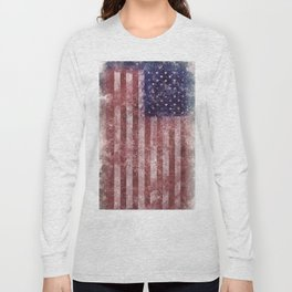 US Flag vintage worn out Long Sleeve T-shirt