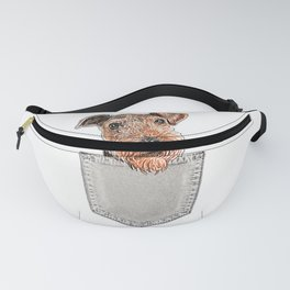 AIREDALE TERRIER In A Pocket Cute Puppy Dog Owner Gift T-Shirt Fanny Pack