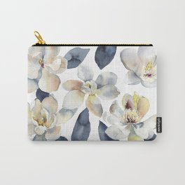White Magnolias Watercolor Design Magnolia Grandiflora Floral Design Carry-All Pouch