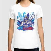surfboard T-shirts featuring poseidon surfer on surfboard background by Doomko