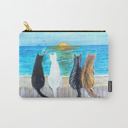 Cat Beach Sunset Carry-All Pouch