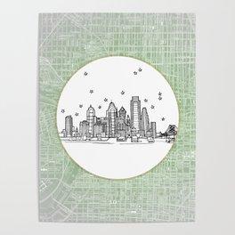 Philadelphia, Pennsylvania City Skyline Illustration Drawing Poster