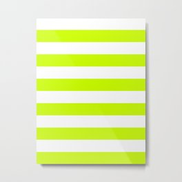 Horizontal Stripes - White and Fluorescent Yellow Metal Print