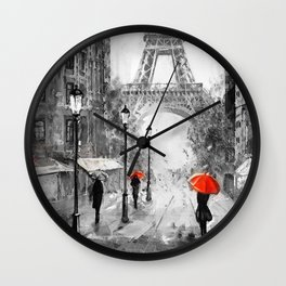 Oil Painting Street View Paris Wall Clock