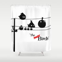 hitchcock Shower Curtains featuring Hitchcock´s The angry Birds by dutyfreak