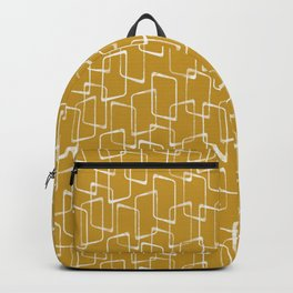 Old Gold and Cream Retro Geometric Shapes Pattern Backpack