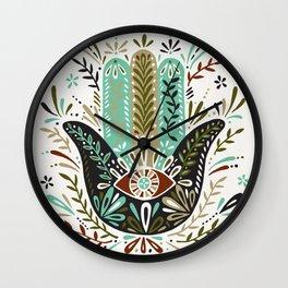 Hamsa Hand – Earth Palette Wall Clock