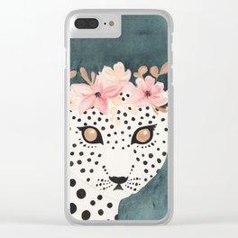 Flower Crown Leopard Clear iPhone Case