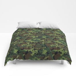 Green and Brown Camouflage Pattern Comforters