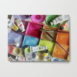 Messy Palette ~ Painter's Palette Metal Print