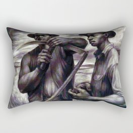 African American Masterpiece 'The Revolt (the harvest) by C. White Rectangular Pillow