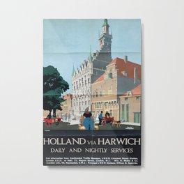 Holland via Harwich Vintage Travel Poster Metal Print