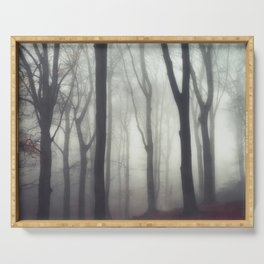 bonds - foggy forest scene Serving Tray