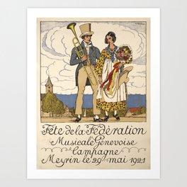 Retro Placard fete de la federation musicale Art Print